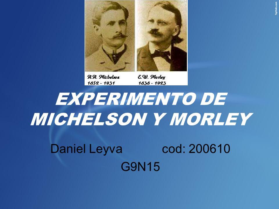 EXPERIMENTO DE MICHELSON Y MORLEY Daniel Leyvacod: 200610 G9N15