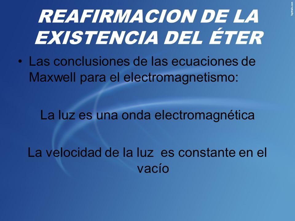 REAFIRMACION DE LA EXISTENCIA DEL ÉTER Las conclusiones de las ecuaciones de Maxwell para el electromagnetismo: La luz es una onda electromagnética La