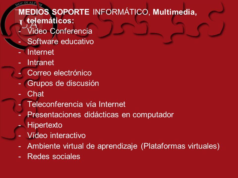 MEDIOS SOPORTE INFORMÁTICO, Multimedia, telemáticos: -Video Conferencia -Software educativo -Internet -Intranet -Correo electrónico -Grupos de discusi
