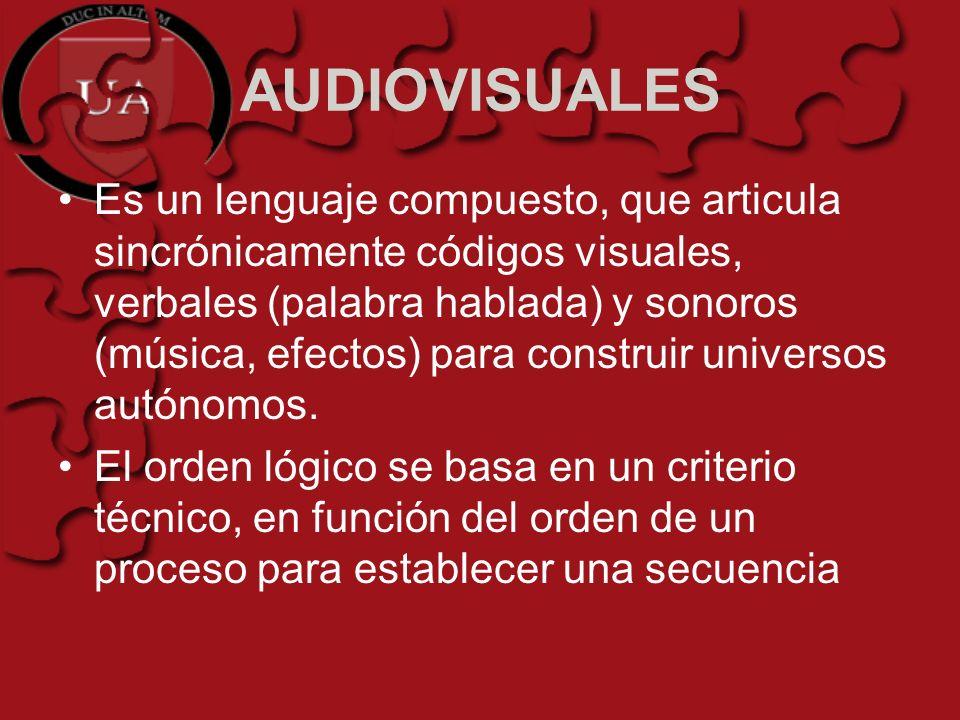 AUDIOVISUALES Es un lenguaje compuesto, que articula sincrónicamente códigos visuales, verbales (palabra hablada) y sonoros (música, efectos) para con