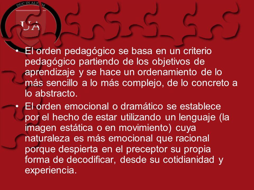 El orden pedagógico se basa en un criterio pedagógico partiendo de los objetivos de aprendizaje y se hace un ordenamiento de lo más sencillo a lo más