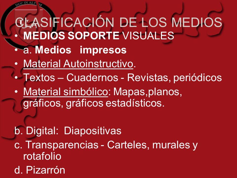 CLASIFICACIÓN DE LOS MEDIOS MEDIOS SOPORTE VISUALES a. Medios impresos Material Autoinstructivo. Textos – Cuadernos - Revistas, periódicos Material si