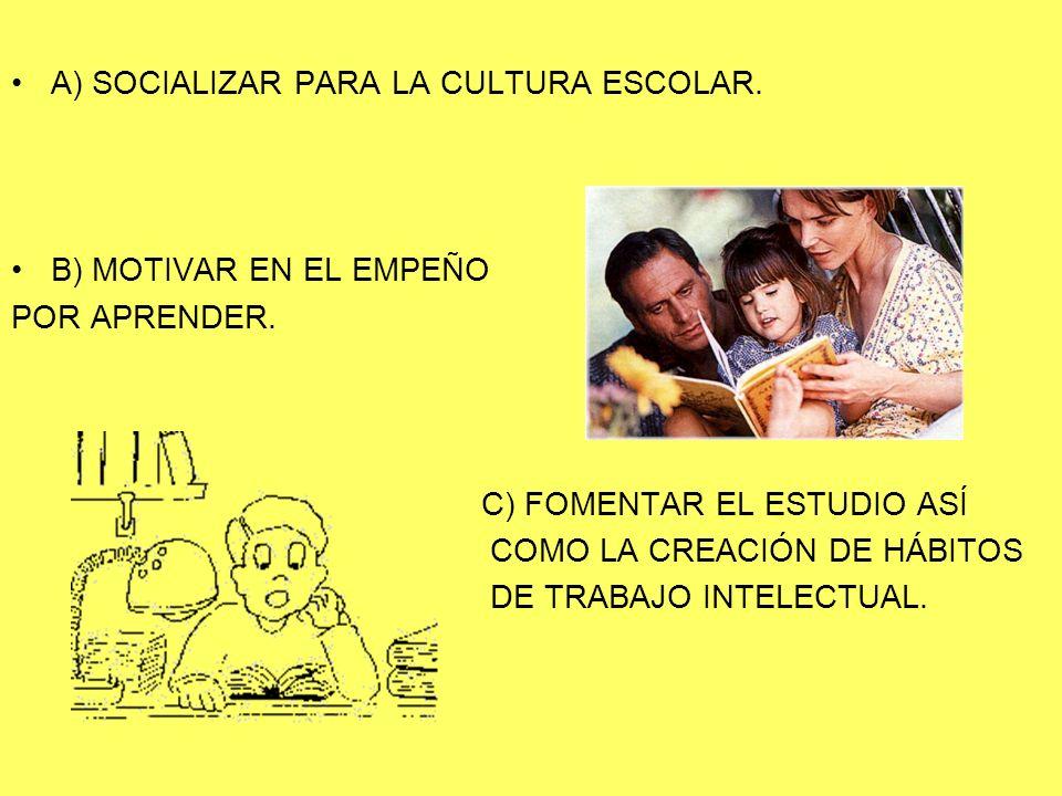 A) SOCIALIZAR PARA LA CULTURA ESCOLAR. B) MOTIVAR EN EL EMPEÑO POR APRENDER. C) FOMENTAR EL ESTUDIO ASÍ COMO LA CREACIÓN DE HÁBITOS DE TRABAJO INTELEC