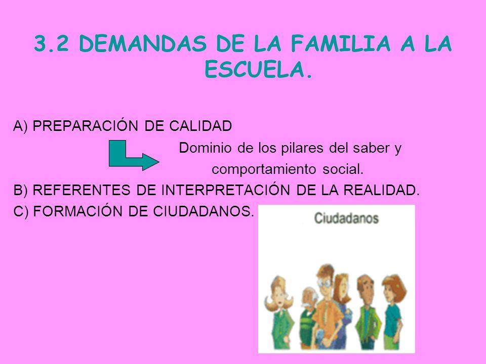 3.2 DEMANDAS DE LA FAMILIA A LA ESCUELA. A) PREPARACIÓN DE CALIDAD Dominio de los pilares del saber y comportamiento social. B) REFERENTES DE INTERPRE