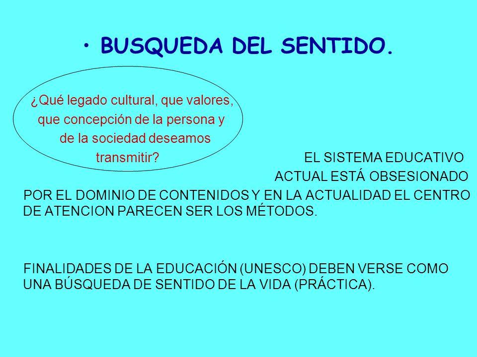 BUSQUEDA DEL SENTIDO. ¿Qué legado cultural, que valores, que concepción de la persona y de la sociedad deseamos transmitir? EL SISTEMA EDUCATIVO ACTUA
