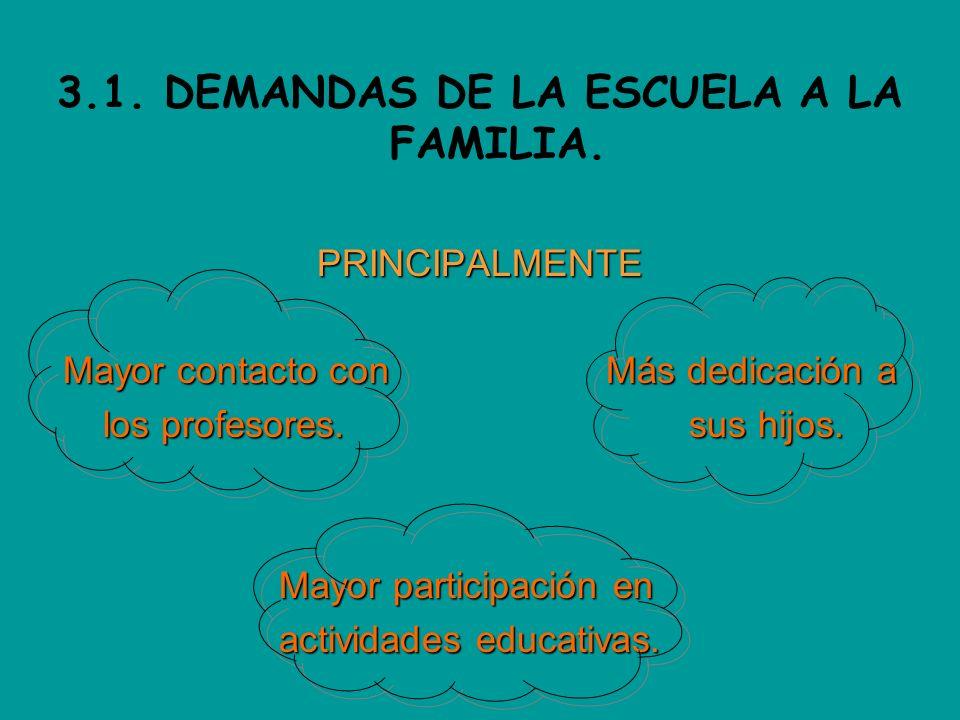 3.1. DEMANDAS DE LA ESCUELA A LA FAMILIA.PRINCIPALMENTE Mayor contacto con Más dedicación a los profesores. sus hijos. los profesores. sus hijos. Mayo