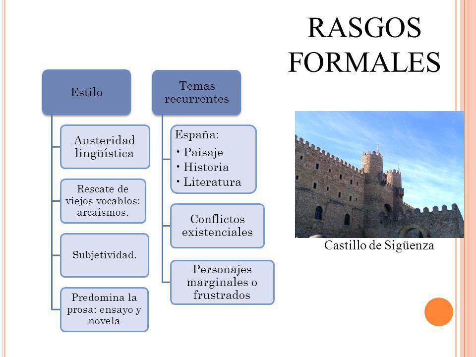 RASGOS FORMALES Castillo de Sigüenza Estilo Austeridad lingüística Rescate de viejos vocablos: arcaísmos. Subjetividad. Predomina la prosa: ensayo y n