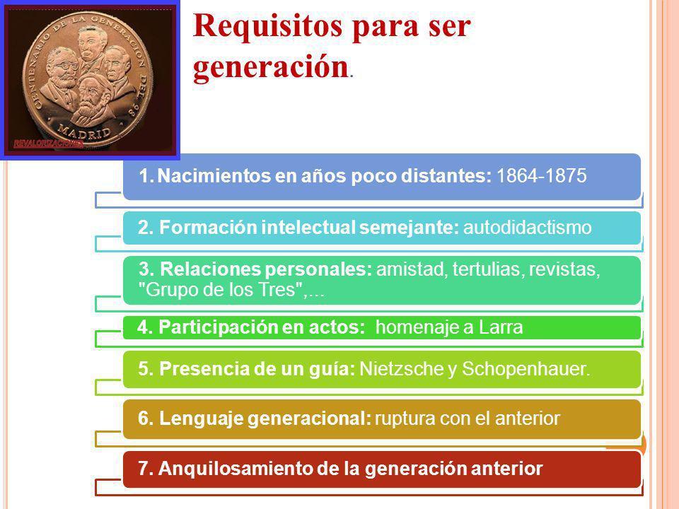 1. Nacimientos en años poco distantes: 1864-1875 2. Formación intelectual semejante: autodidactismo 3. Relaciones personales: amistad, tertulias, revi