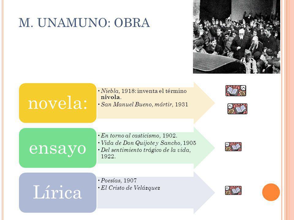 M. UNAMUNO: OBRA Niebla, 1918: inventa el término nivola. San Manuel Bueno, mártir, 1931 novela: En torno al casticismo, 1902. Vida de Don Quijote y S