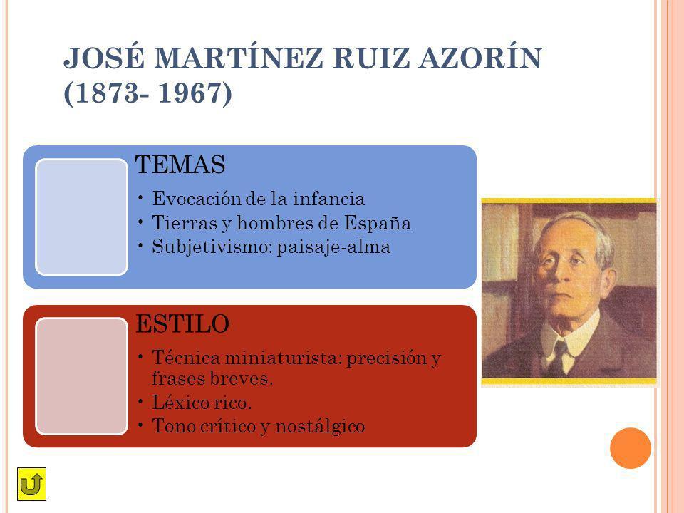 JOSÉ MARTÍNEZ RUIZ AZORÍN (1873- 1967) TEMAS Evocación de la infancia Tierras y hombres de España Subjetivismo: paisaje-alma ESTILO Técnica miniaturis