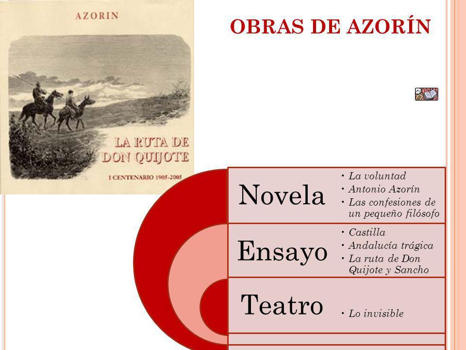 OBRAS DE AZORÍN Novela Ensayo Teatro La voluntad Antonio Azorín Las confesiones de un pequeño filósofo Castilla Andalucía trágica La ruta de Don Quijo
