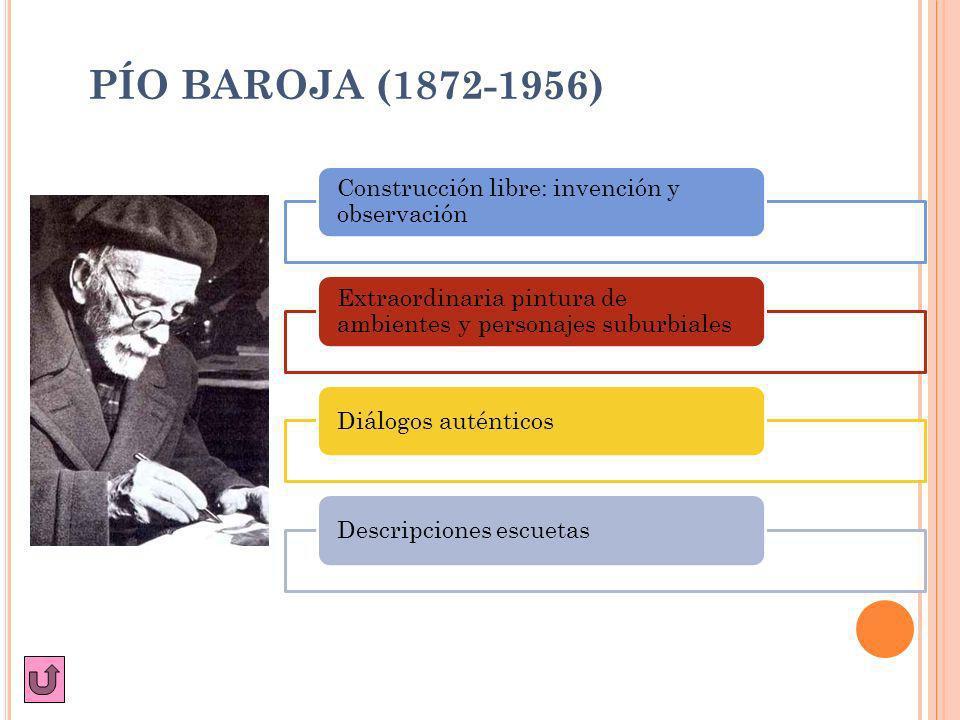 PÍO BAROJA (1872-1956) Construcción libre: invención y observación Extraordinaria pintura de ambientes y personajes suburbiales Diálogos auténticosDes