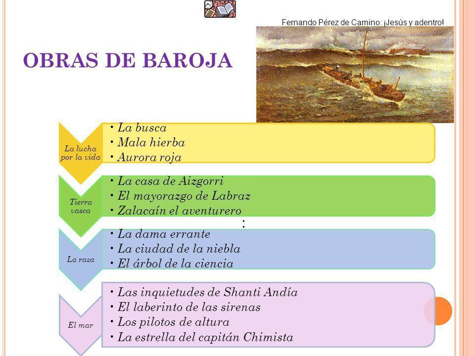 OBRAS DE BAROJA Fernando Pérez de Camino: ¡Jesús y adentro! : La lucha por la vida La busca Mala hierba Aurora roja Tierra vasca La casa de Aizgorri E
