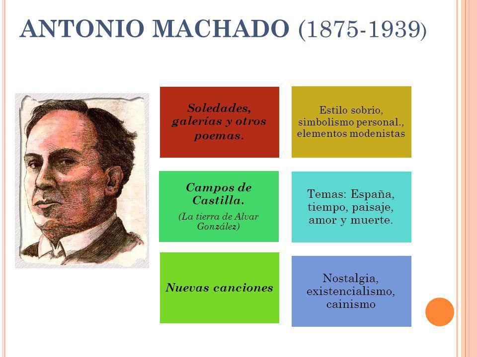 ANTONIO MACHADO (1875-1939 ) Nostalgia, existencialismo, cainismo Temas: España, tiempo, paisaje, amor y muerte. Campos de Castilla. (La tierra de Alv