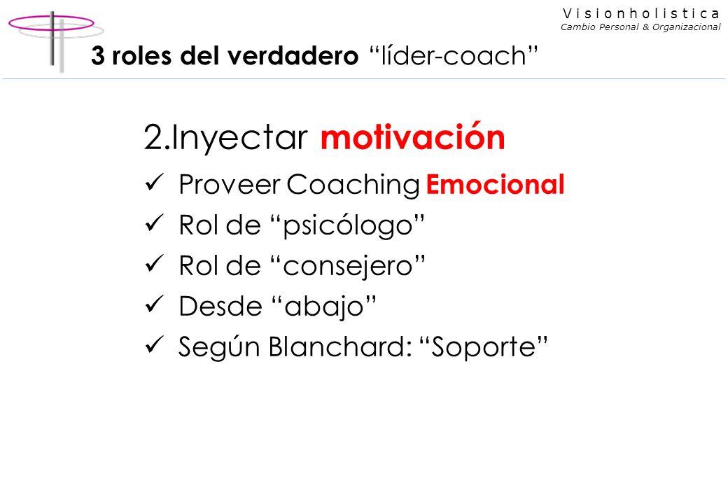 V i s i o n h o l i s t i c a Cambio Personal & Organizacional 3 roles del verdadero líder-coach 2.Inyectar motivación Proveer Coaching Emocional Rol de psicólogo Rol de consejero Desde abajo Según Blanchard: Soporte