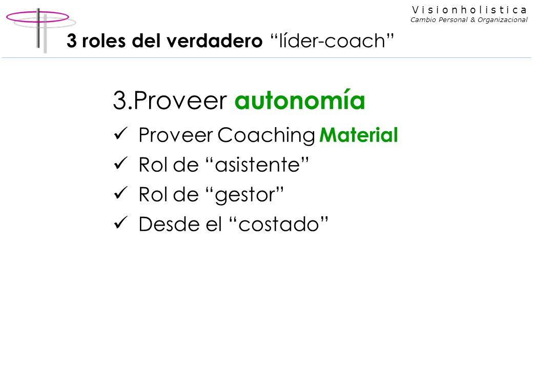 V i s i o n h o l i s t i c a Cambio Personal & Organizacional 3 roles del verdadero líder-coach 3.Proveer autonomía Proveer Coaching Material Rol de asistente Rol de gestor Desde el costado