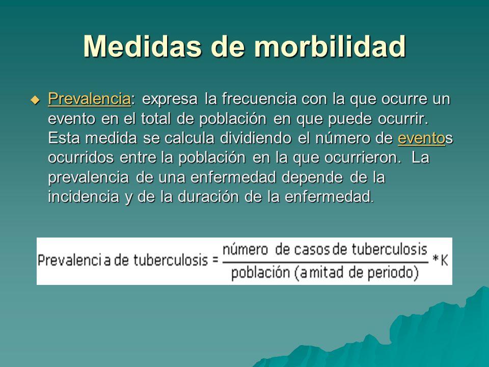 Medidas de morbilidad Prevalencia: expresa la frecuencia con la que ocurre un evento en el total de población en que puede ocurrir. Esta medida se cal