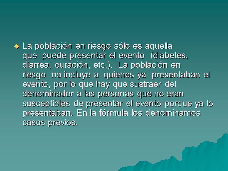 La población en riesgo sólo es aquella que puede presentar el evento (diabetes, diarrea, curación, etc.). La población en riesgo no incluye a quienes