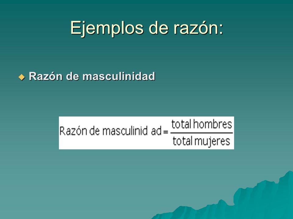 Ejemplos de razón: Razón de masculinidad Razón de masculinidad