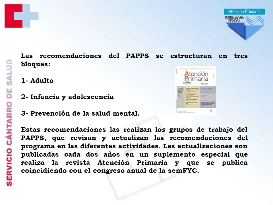 Las recomendaciones del PAPPS se estructuran en tres bloques: 1- Adulto 2- Infancia y adolescencia 3- Prevención de la salud mental.