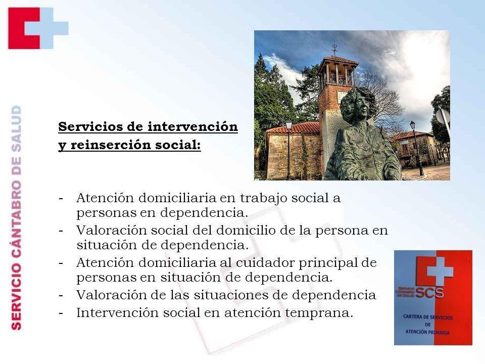 Servicios de intervención y reinserción social: -Atención domiciliaria en trabajo social a personas en dependencia.
