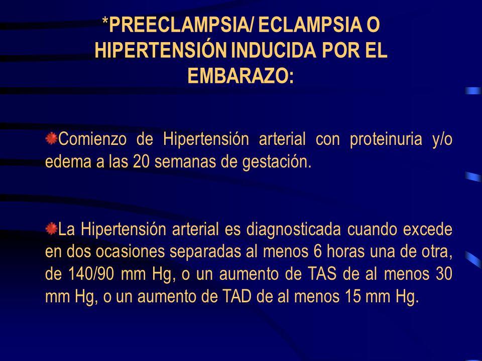 American College of Obstetricians 4 categorías: Preeclampsia Eclampsia (hipertension inducica por el embarazo) Hipertensión arterial crónica Preeclamp