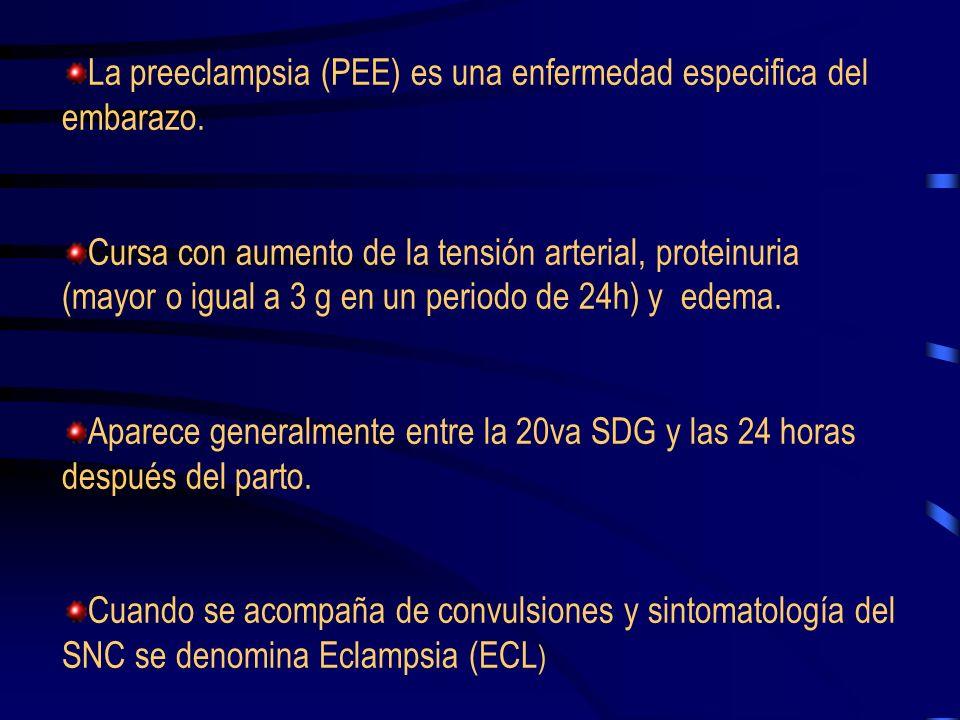 Criterios de gravedad en la pre-eclampsia Tensión arterial sistólica mayor o igual a 160 mmHg o tensión arterial diastólica mayor o igual a 110 mmHg registrados en dos ocasiones con intervalos no menor de 6 horas y en estado de reposo o tensión arterial diastólica mayor o igual a 120 mmHg aunque sea en una ocasión o incremento de la tensión arterial sistólica de 60 mmHg o de la tensión arterial diastólica en 30 mmHg sobre la tensión basal.