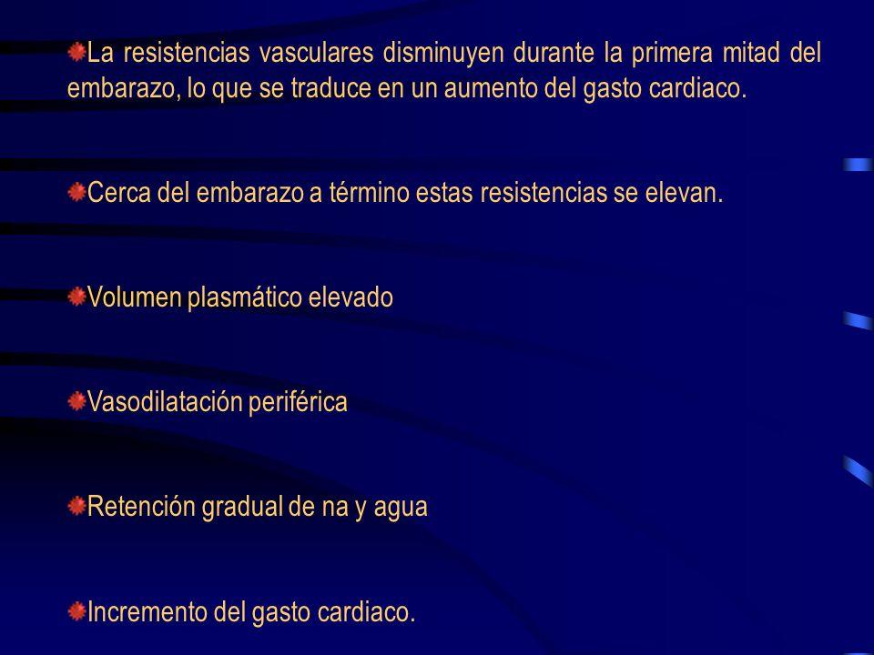 HEMODINAMICA EN EL EMBARAZO NORMAL Las cifras de tensión arterial disminuyen en el principio del primer trimestre, y alcanza la máxima disminución a l