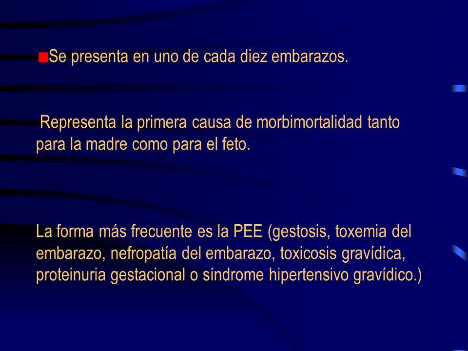 La preeclampsia (PEE) es una enfermedad especifica del embarazo. Cursa con aumento de la tensión arterial, proteinuria (mayor o igual a 3 g en un peri