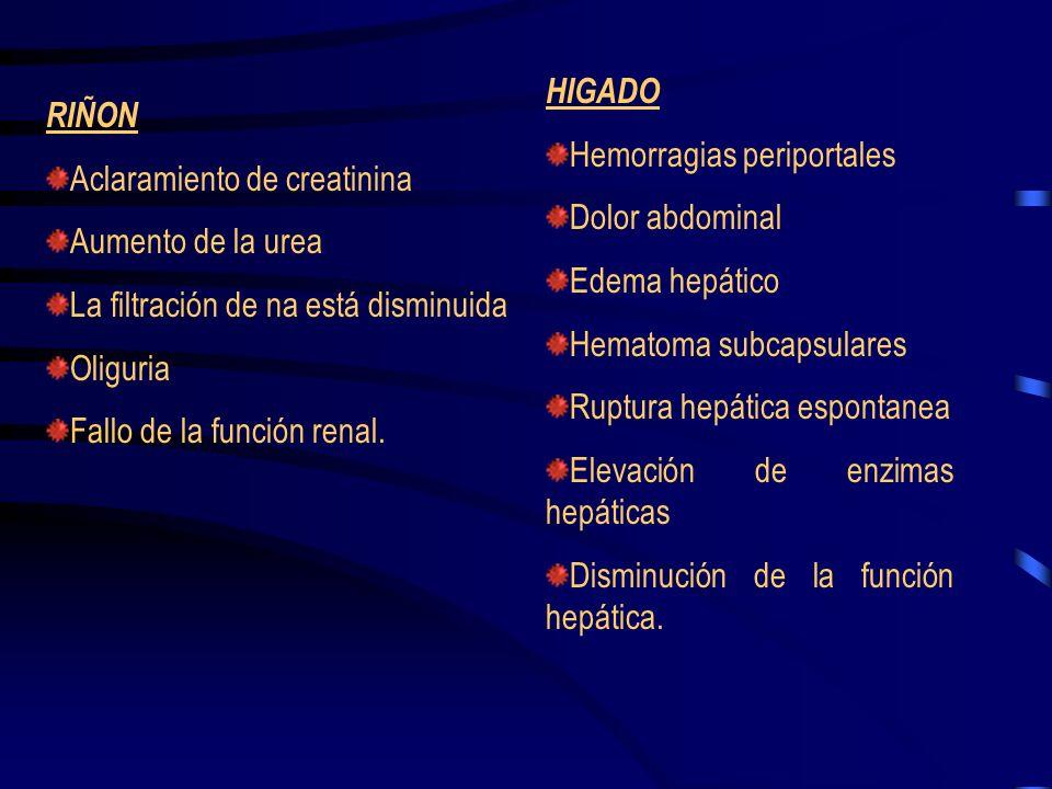 Hiperreflexia (suele aparecer en estadios graves, pueden reflejar la aparición de convulsiones.) Hiperirritabilidad (debida a la alteración vasoespást
