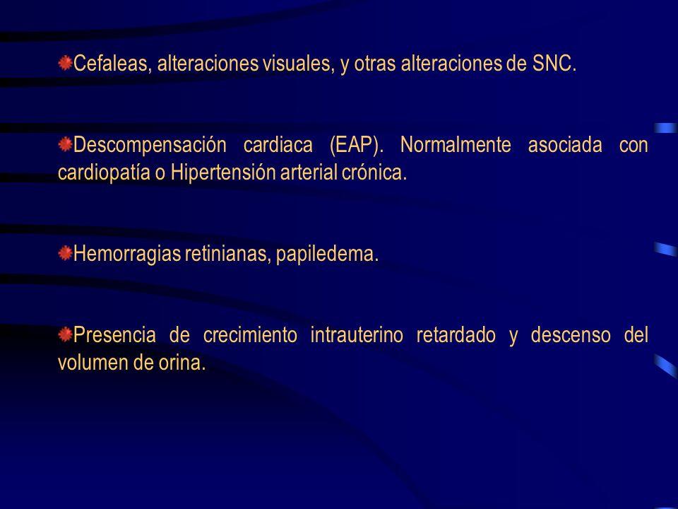TAS> 160 mm Hg, o TAD> 110 mm Hg Proteinuria de nueva presentación >= 2 gr./24 h, o 100 mg/dL en orina. Incremento de creatinina >2 mg/dL. Contaje pla