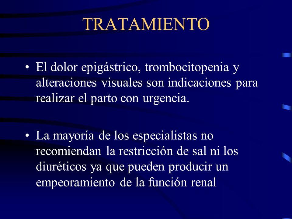 TRATAMIENTO La PEE-ECL a partir de la semana 36, se trata con inducción del parto independientemente de la gravedad de la enfermedad. Antes de la sema
