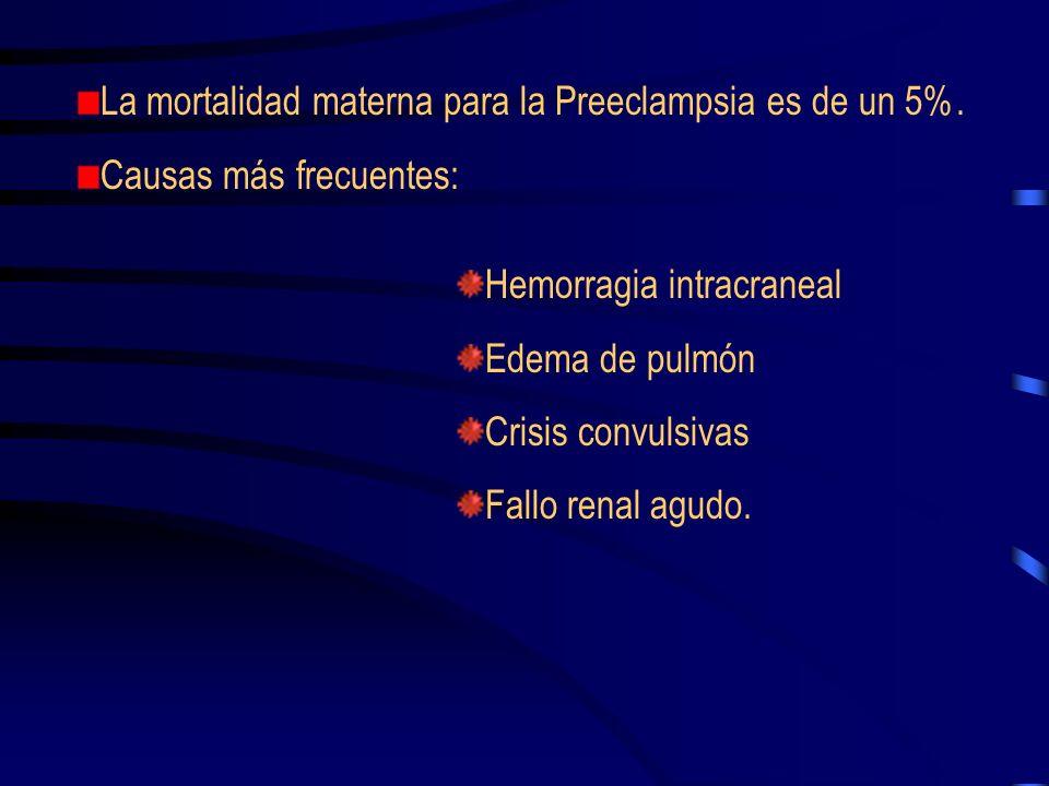 HEMATOLOGICO Trombopenia ( < 150.000 pl./Cc) en el 15% de preeclampsia y en el 30% de eclampsia Alteración cualitativa plaquetaria, con disminución de la vida media.