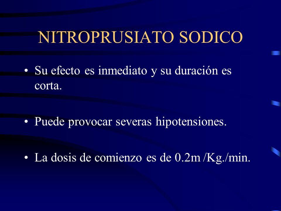 NITROPRUSIATO SODICO El nitroprusiato relaja el músculo liso arteriolar y venoso, e impide la entrada y activación intracelular del calcio. Debe utili
