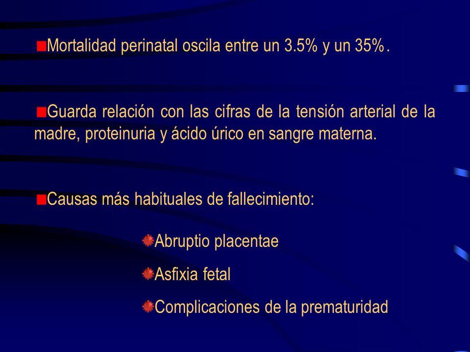 La mortalidad materna para la Preeclampsia es de un 5%. Causas más frecuentes: Hemorragia intracraneal Edema de pulmón Crisis convulsivas Fallo renal