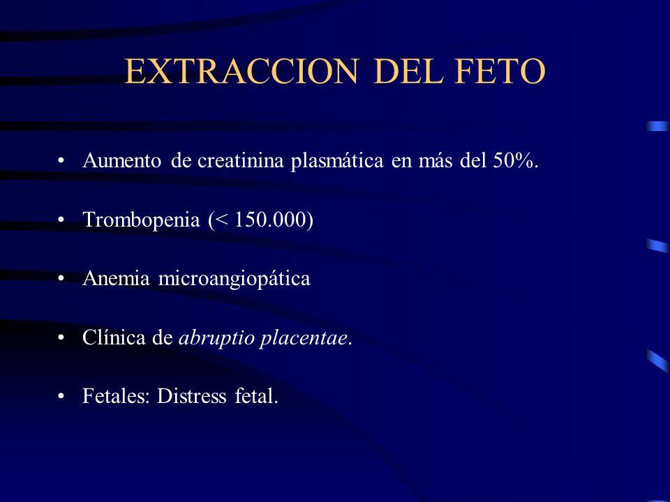 EXTRACCION DEL FETO ABSOLUTAS Convulsiones Irritabilidad cerebral Fallo cardiaco Oliguria (< 20 ml/h) Hipertensión incontrolable