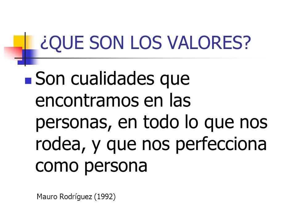 ¿QUE SON LOS VALORES? Son cualidades que encontramos en las personas, en todo lo que nos rodea, y que nos perfecciona como persona Mauro Rodríguez (19
