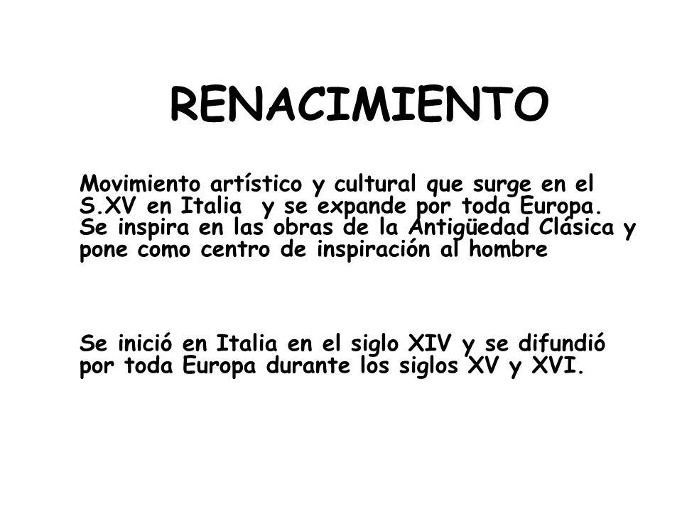 RENACIMIENTO Movimiento artístico y cultural que surge en el S.XV en Italia y se expande por toda Europa.