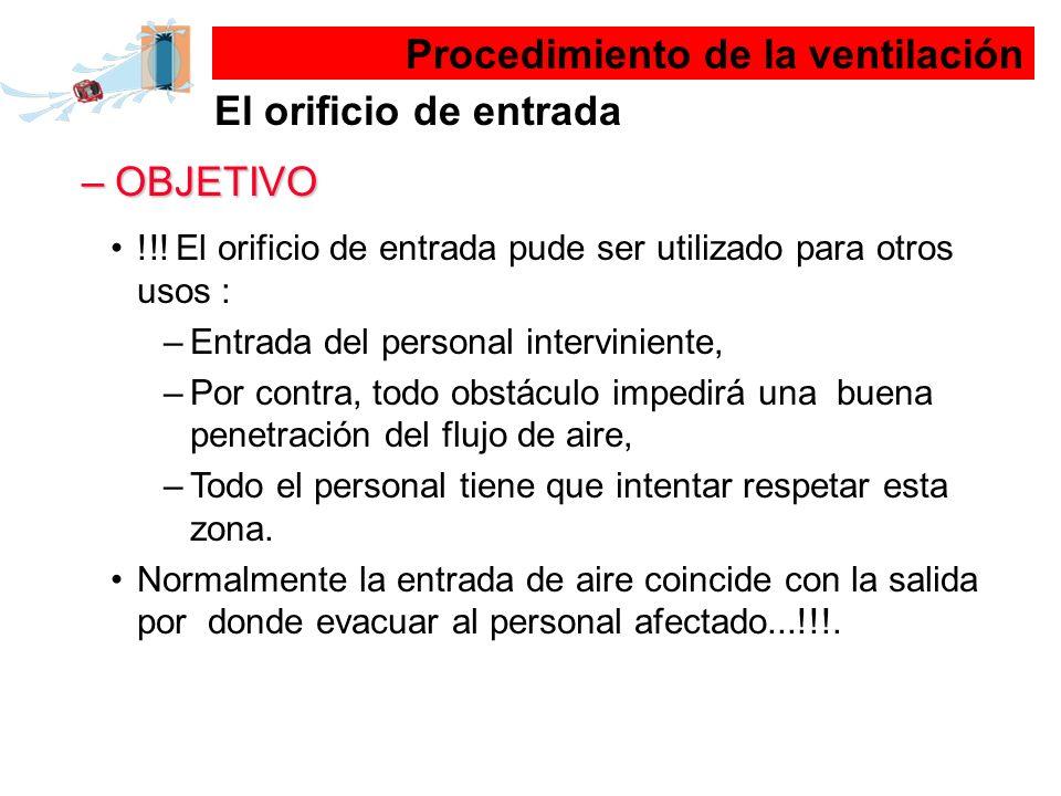 –OBJETIVO !!! El orificio de entrada pude ser utilizado para otros usos : –Entrada del personal interviniente, –Por contra, todo obstáculo impedirá un