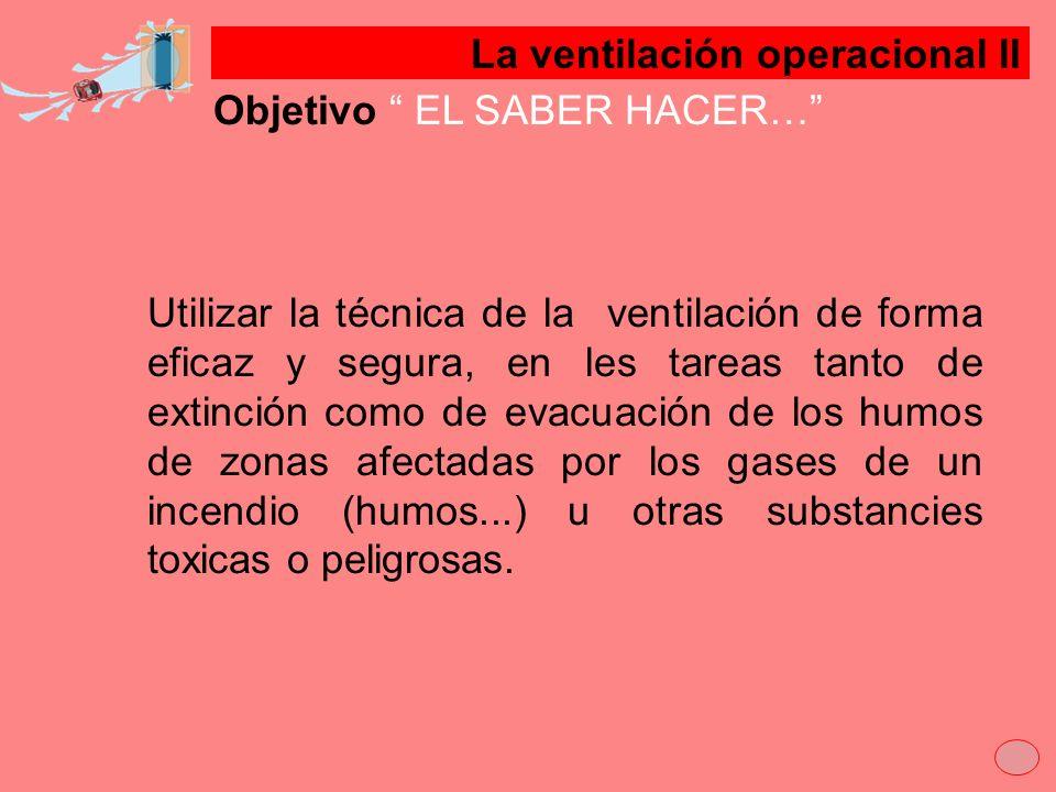 Objetivo EL SABER HACER… Utilizar la técnica de la ventilación de forma eficaz y segura, en les tareas tanto de extinción como de evacuación de los hu