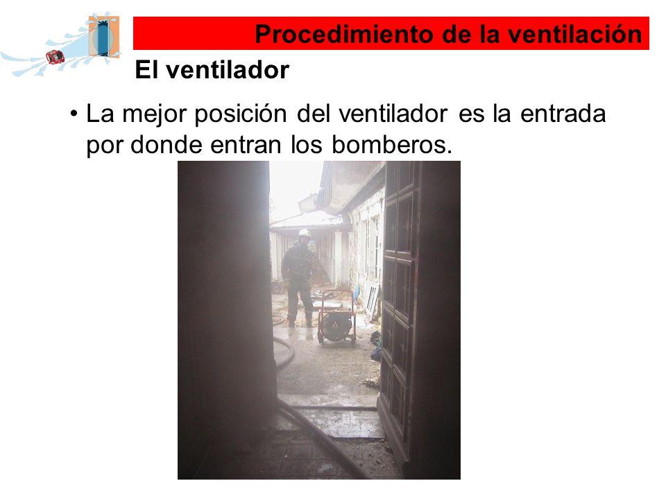 La mejor posición del ventilador es la entrada por donde entran los bomberos. Procedimiento de la ventilación El ventilador