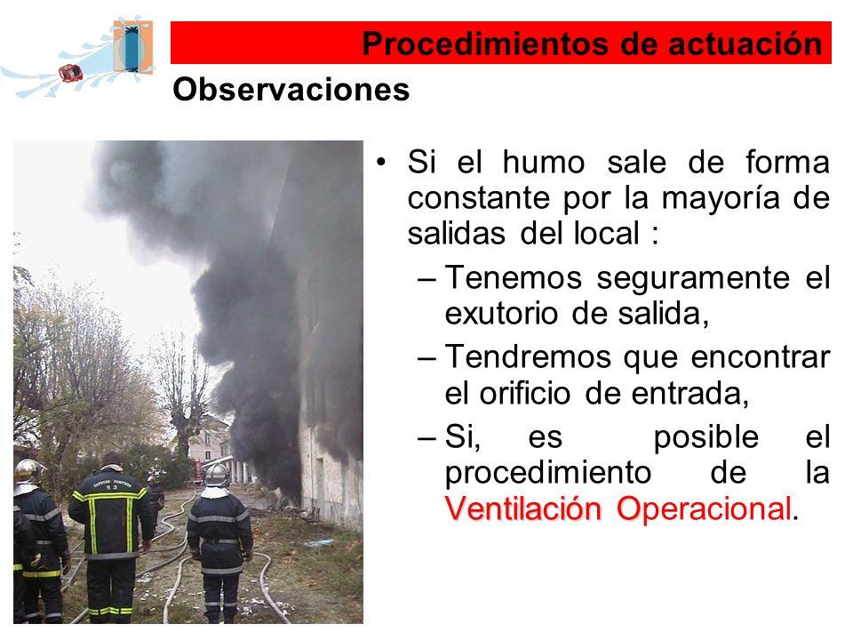 Si el humo sale de forma constante por la mayoría de salidas del local : –Tenemos seguramente el exutorio de salida, –Tendremos que encontrar el orifi