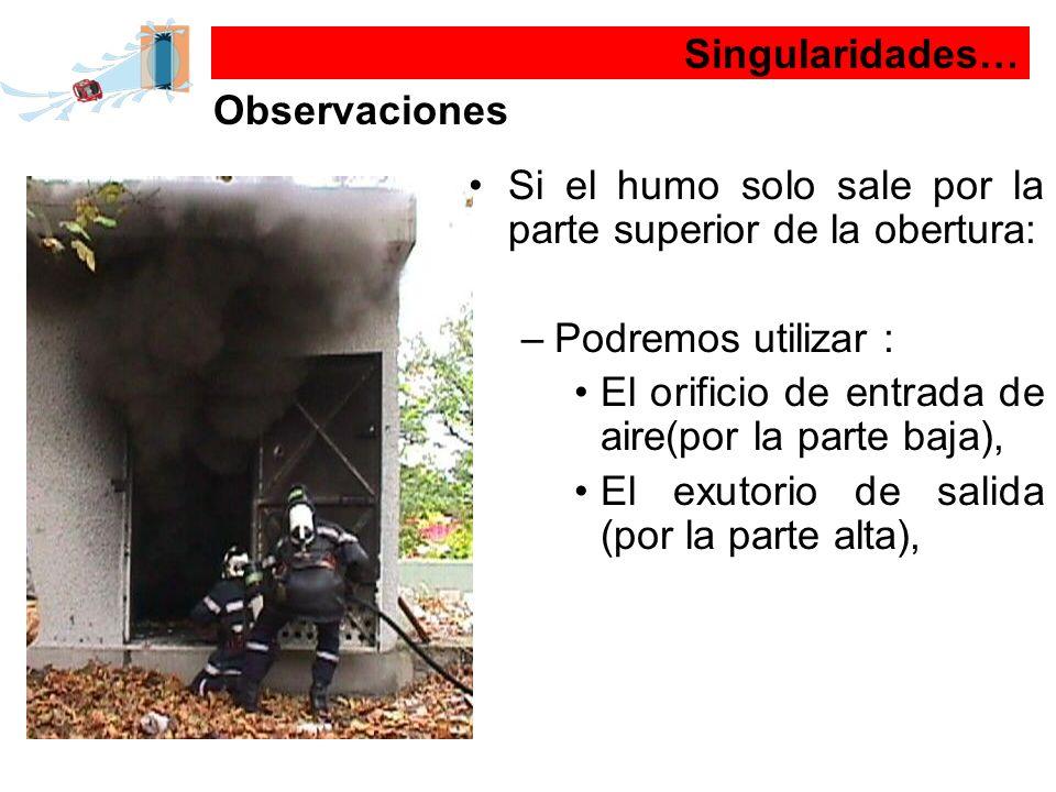 Singularidades… Observaciones Si el humo solo sale por la parte superior de la obertura: –Podremos utilizar : El orificio de entrada de aire(por la pa