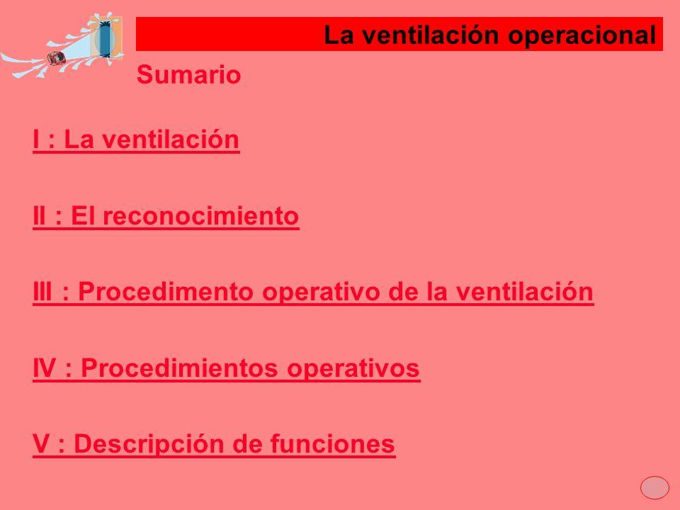 Sumario I : La ventilación II : El reconocimientoII : E III : Procedimento operativo de la ventilaciónIII : P IV : Procedimientos operativosIV : P V :