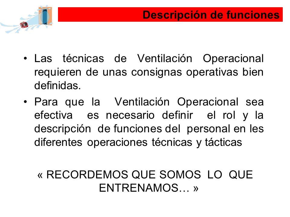 Las técnicas de Ventilación Operacional requieren de unas consignas operativas bien definidas. Para que la Ventilación Operacional sea efectiva es nec