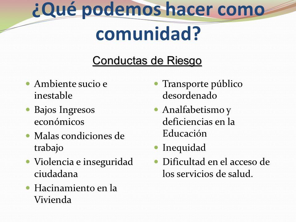 ¿Qué podemos hacer a favor de las personas? Conductas de Riesgo de los individuos: Alcohol Tabaco Inactividad física Obesidad Desnutrición Infantil Pr