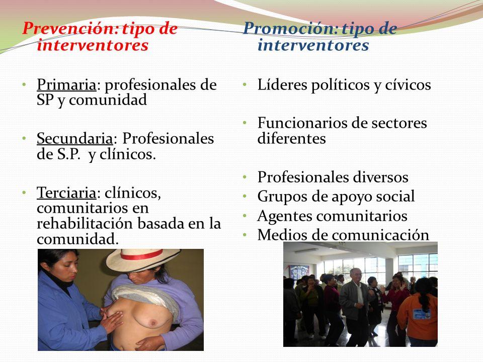 Prevención: modelos Primaria: preventivos propios de Salud Pública Secundaria: de S.P. a riesgos específicos. Tipo clínico. Terciaria: Clínico. Recupe