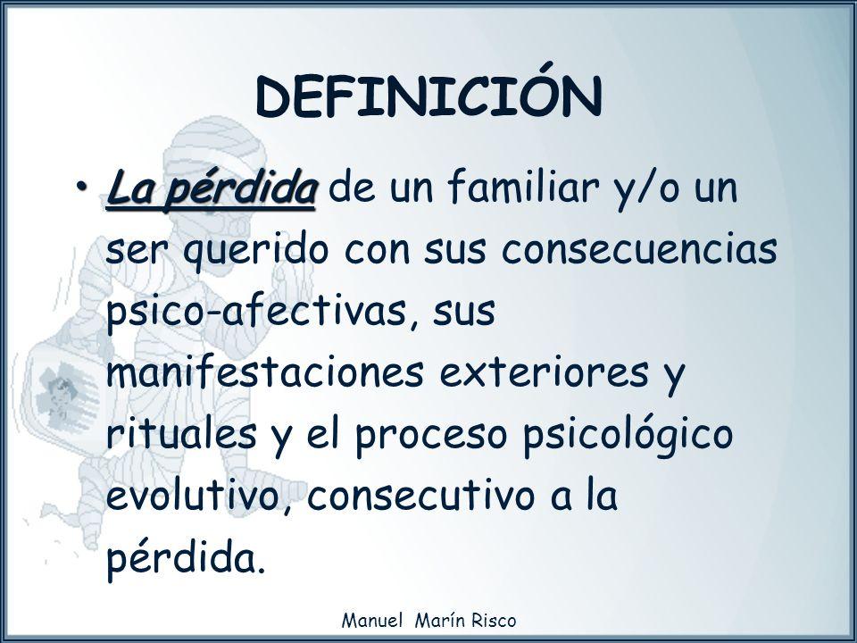 Manuel Marín Risco La pérdidaLa pérdida de un familiar y/o un ser querido con sus consecuencias psico-afectivas, sus manifestaciones exteriores y ritu