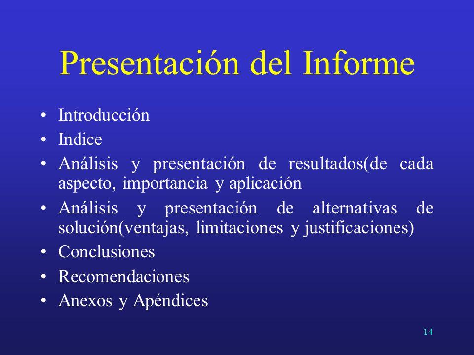Presentación del Informe Introducción Indice Análisis y presentación de resultados(de cada aspecto, importancia y aplicación Análisis y presentación d