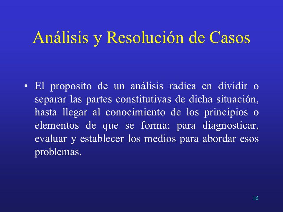 Análisis y Resolución de Casos El proposito de un análisis radica en dividir o separar las partes constitutivas de dicha situación, hasta llegar al co